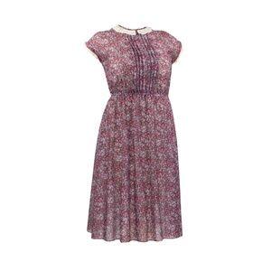 Vintage Burgundy Floral Polyester Cap Sleeve Dress
